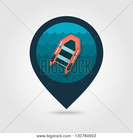 Inflatable boat vector pin map icon. Beach Map pointer. Summer Map markers. Summertime. Vacation eps 10