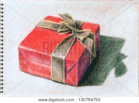 Red gift box - hand draw color pencils