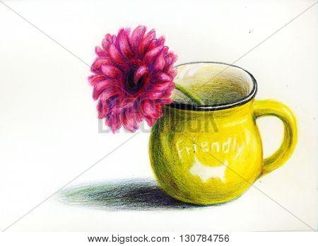 Yellow mug with flower - hand draw color pencils illustration