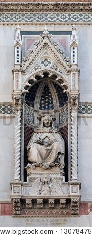 FLORENCE, ITALY - JUNE 05: Cardinal Pietro Valeriani, Portal of Cattedrale di Santa Maria del Fiore (Cathedral of Saint Mary of the Flower), Florence, Italy on June 05, 2015