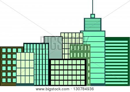 Skyscrapers. City skyline with houses and skyscrapers on white background