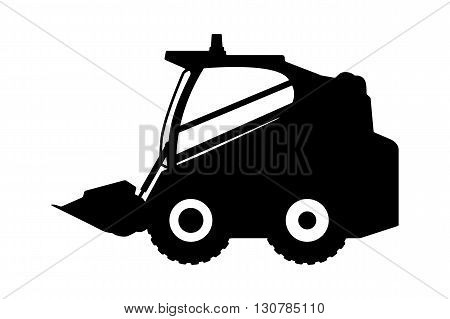 The silhouette of the loader on a white background.