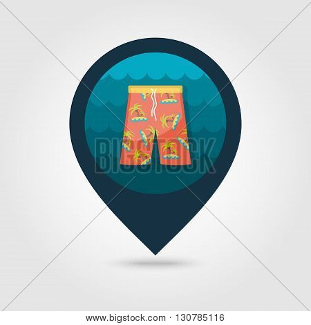 Men Beach Shorts vector pin map icon. Beach Map pointer. Summer Map markers. Summertime. Vacation eps 10