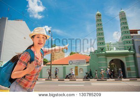 Happy Asia Woman Travel In Singapore,masjid Jamae