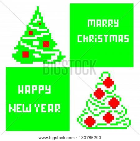 Pixel Tree and Merry Christmas and Happy New Year. Pixel Tree vector. Merry Christmas vector. Christmas vector. Happy New Year vector.
