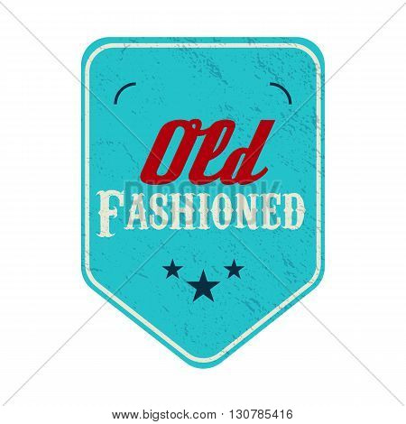 Old fashioned blue pennant label in vintage style on a white background