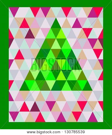 Triangulation Christmas tree on a colorful background vector. Christmas tree Triangulation vector.