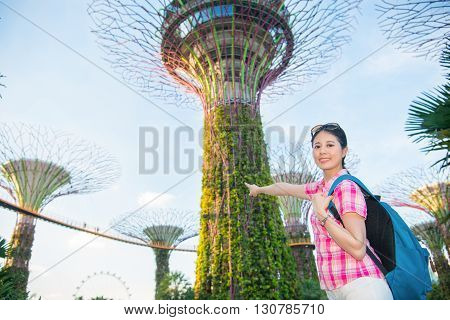 Happy Asia Woman Travel In Singapore, Super Trees