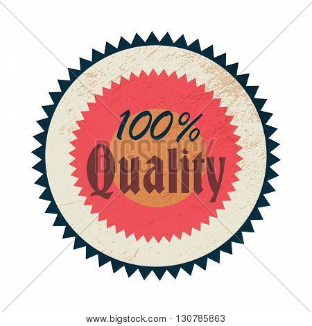 100 percent quality label in vintage style on a white background