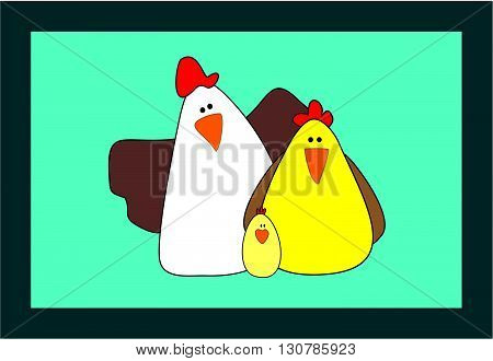 Cartoon Family chicken and rooster vector illustration. Cartoon chicken. Chicken vector. Chicken poster. Chicken vector illustration. Rooster for advertising. For packing chicken. Chicken logo.
