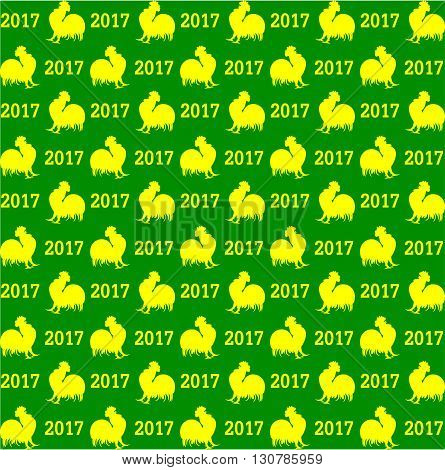 Christmas background roosters and the year 2017 vector illustration. Seamless pattern Roosters. Green-yellow color.