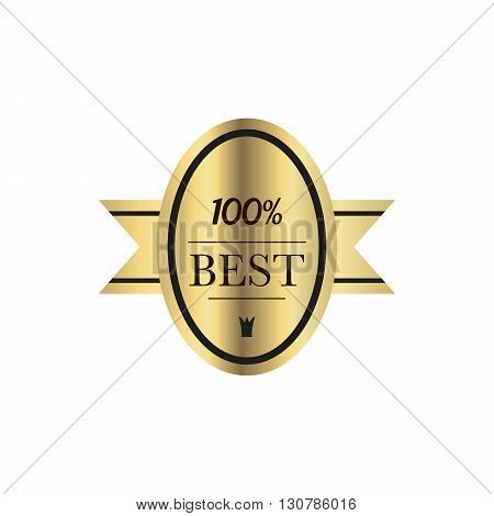 Best quality 100 percent guaranteed golden label in simple style on a white background