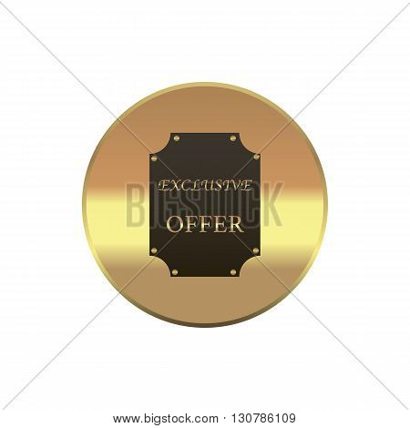 Exclusive offer label in simple style on a white background