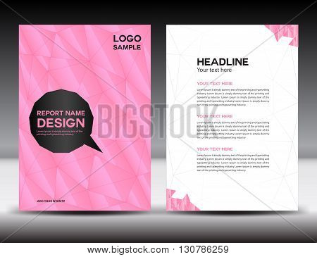 Pink Cover Annual report template brochure flyer polygon background book cover leaflet poster newslette