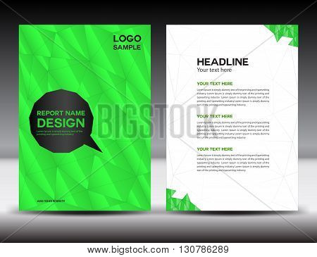 green Cover Annual report template brochure flyer polygon background book cover leaflet poster newslette