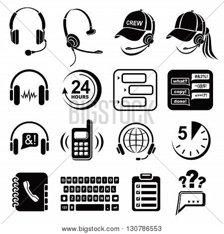 Call center icons set in simple style isolated on white background