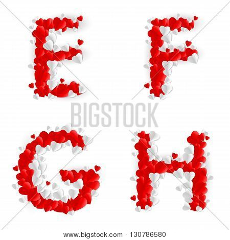Letters E F G H made of paper hearts