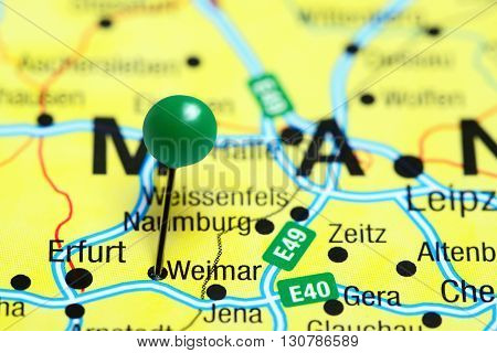 Weimar pinned on a map of Germany