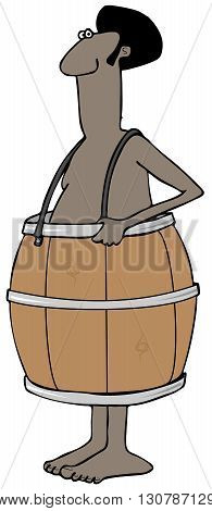 Illustration depicting a poor black man wearing only a wooden whiskey barrel.