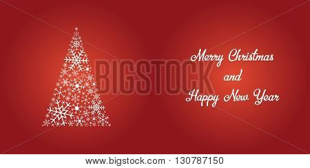 Christmas treen made of snowflakes with Merry Christmas and Happy New Year text shiny white on red background can be folded in half for perfect Christmas card. snowflake christmas card. snowflake card. red christmas card. festive. merry christmas card. ha