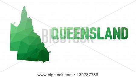 Green Polygonal Mosaic Map Of Queensland, Qld - Political Part Of Australia