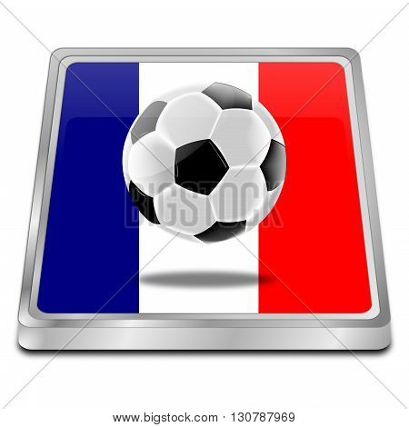 Soccer ball with a flag of France - 3D Illustration
