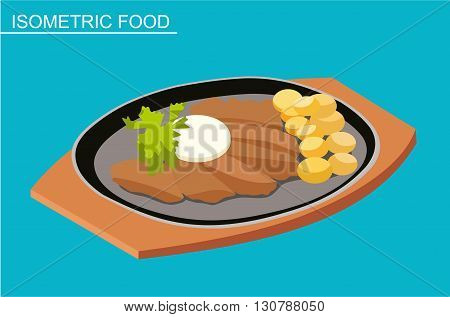 Isometric sushi set. Japanese seafood vector. Asian restaurant food. Flat illustration. Grilled meat with potatoes in the dish. Isometric food