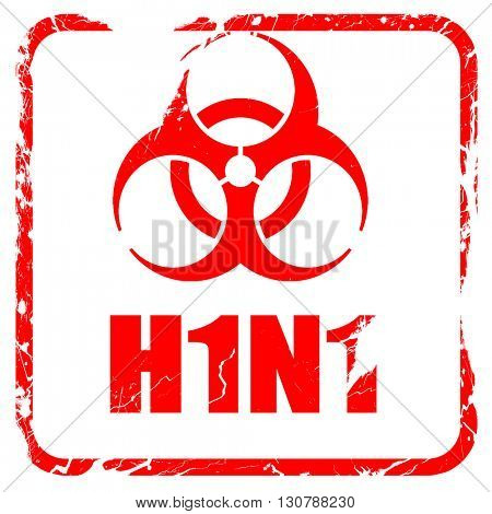 H1N1 virus concept background, red rubber stamp with grunge edge