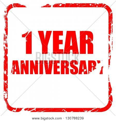 1 year anniversary, red rubber stamp with grunge edges
