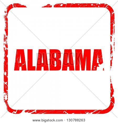 alabama, red rubber stamp with grunge edges