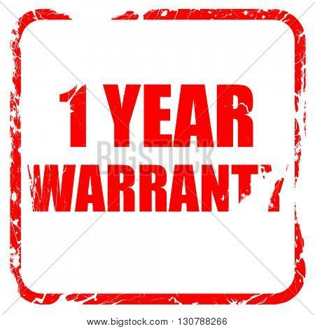 1 year warranty, red rubber stamp with grunge edges