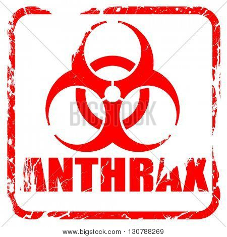 Anthrax virus concept background, red rubber stamp with grunge e