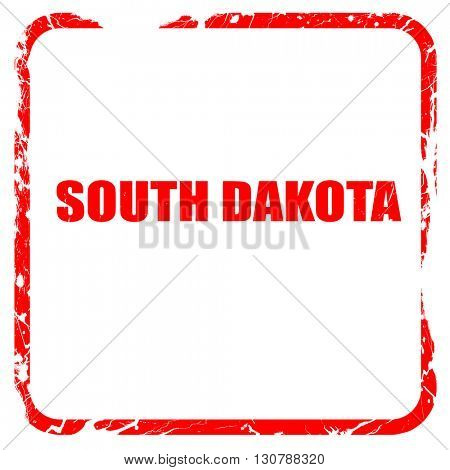 south dakota, red rubber stamp with grunge edges