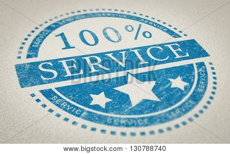 3d Illustration of a rubber stamp with the text 100 percent service over paper background. Concept of customer service