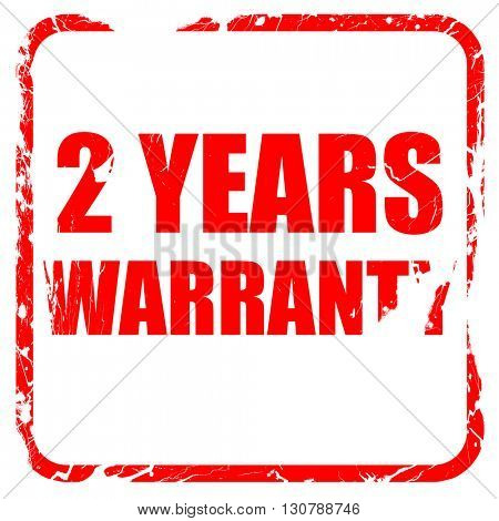 2 years warranty, red rubber stamp with grunge edges