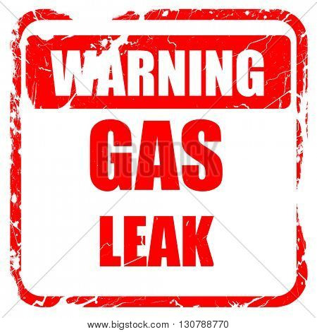 Gas leak background, red rubber stamp with grunge edges