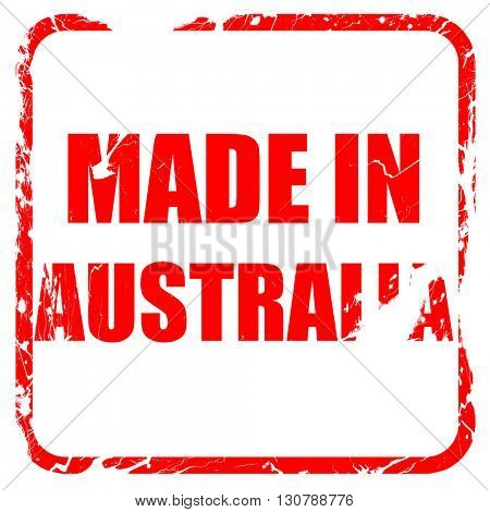 Made in australia, red rubber stamp with grunge edges