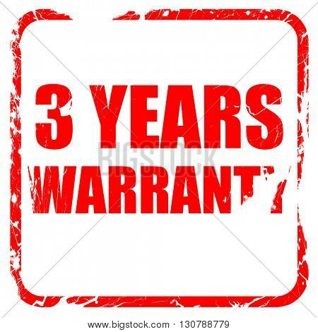 3 year warranty, red rubber stamp with grunge edges
