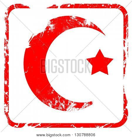 Islam faith symbol, red rubber stamp with grunge edges