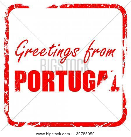 Greetings from portugal, red rubber stamp with grunge edges