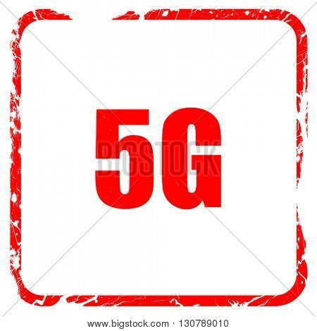 5g, red rubber stamp with grunge edges