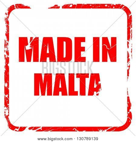 Made in malta, red rubber stamp with grunge edges