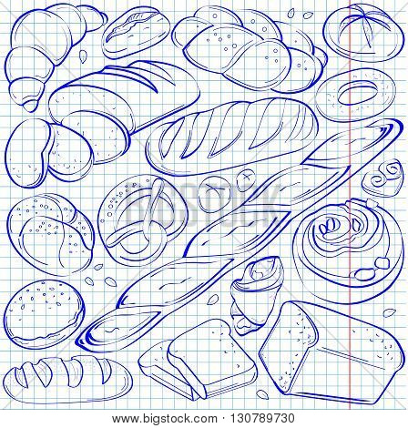 Set of fresh and organic bakery products: bread, bagguette, bun, bagel, toast, cookie.croissant,drawn on white cell leaf drawn in blue pen
