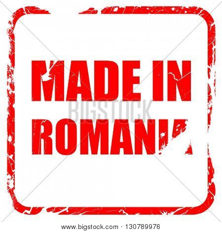 Made in romania, red rubber stamp with grunge edges