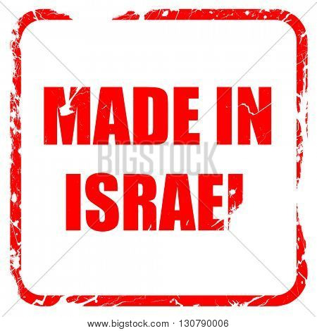 Made in israel, red rubber stamp with grunge edges