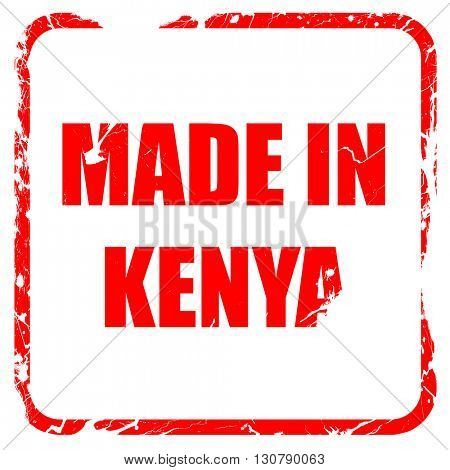 Made in kenya, red rubber stamp with grunge edges