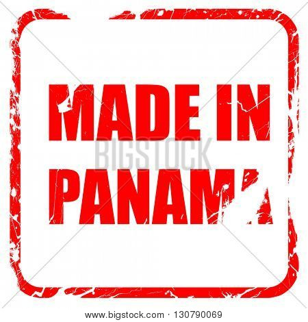 Made in panama, red rubber stamp with grunge edges