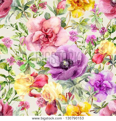 Vintage summer flowers, leaves and herbs. Repeating floral background. Watercolor