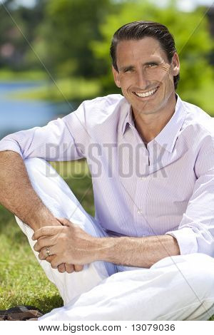 Outdoor Portrait Of Handsome Middle Aged Man