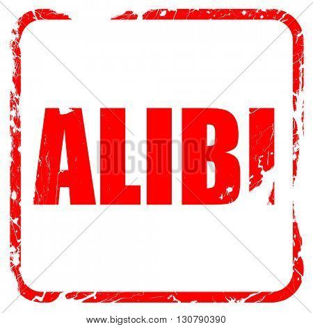 alibi, red rubber stamp with grunge edges